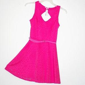 Spring Skater Dress Coral Pink Laser Design NWT 7